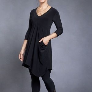 Sympli Slant Pocket Long Sleeve Tunic Dress